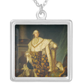 Louis XVI  King of France in Coronation Robes Square Pendant Necklace
