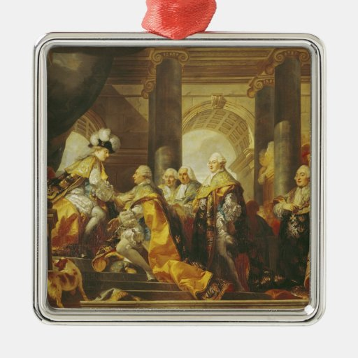 Louis XVI  King of France Square Metal Christmas Ornament