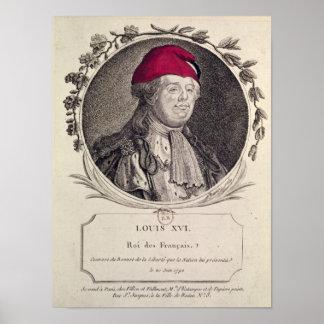 Louis XVI que lleva un capo phrygian Posters