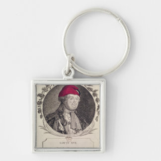 Louis XVI  wearing a phrygian bonnet Silver-Colored Square Keychain