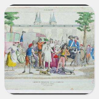 Louis XVI y su familia llevados al templo Pegatina Cuadrada