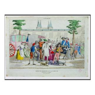 Louis XVI y su familia llevados al templo Postal