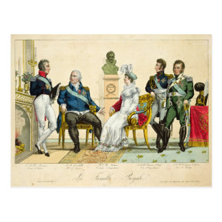 Louis XVIII  and his Family Postcard