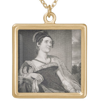 Louisa Catherine Adams (1775-1852) engraved by G.F Square Pendant Necklace