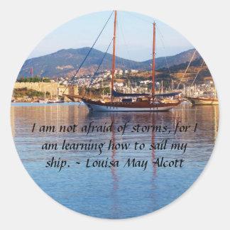 Louisa May Alcott inspirational QUOTE Classic Round Sticker