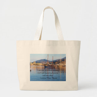 Louisa May Alcott inspirational QUOTE Large Tote Bag