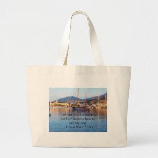 Louisa May Alcott inspirational QUOTE Large Tote Bag