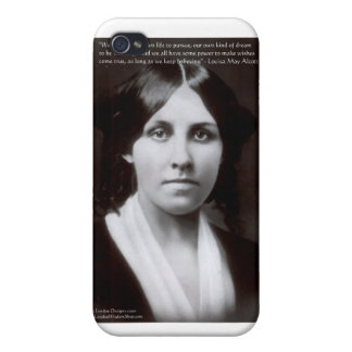 """Louisa May Alcott & """"Purpose/Dream"""" Quote Gifts iPhone 4 Case"""
