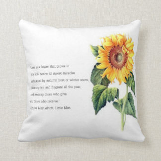 Louisa May Alcott quote w/ Vintage Sunflower Throw Pillow