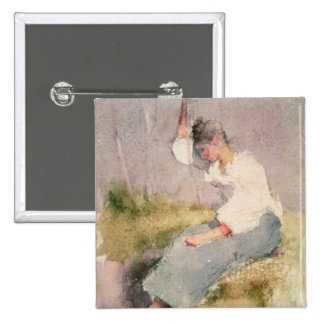 Louise, a Breton Girl (w/c on paper) 2 Inch Square Button