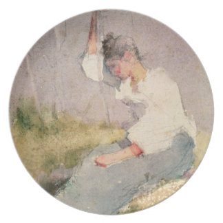 Louise, a Breton Girl (w/c on paper) Dinner Plate
