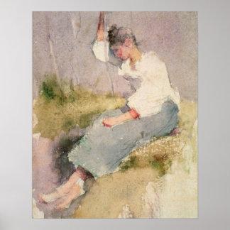 Louise, a Breton Girl (w/c on paper) Poster