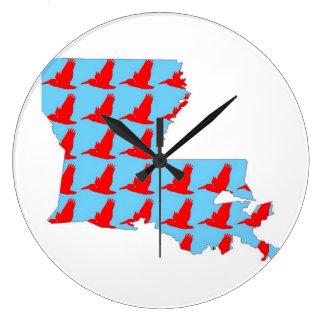 Louisian pelican print clock