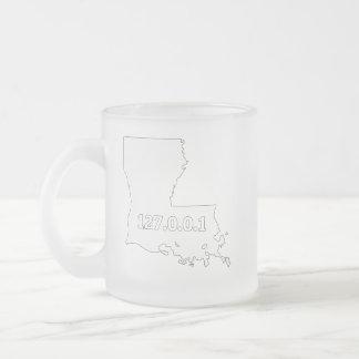 Louisiana 127.0.0.1 Home Computer Nerd IP Address Frosted Glass Coffee Mug