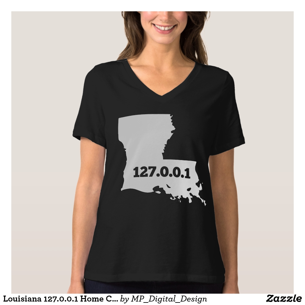 Louisiana 127.0.0.1 Home Computer Nerd IP Address T-Shirt - Best Selling Long-Sleeve Street Fashion Shirt Designs