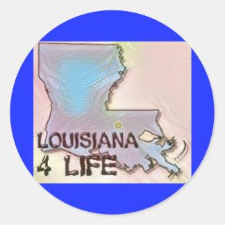 """Louisiana 4 Life"" State Map Pride Design Classic Round Sticker"