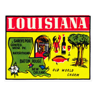 Louisiana 50s Vintage Retro Kitsch Decal Art Postcard