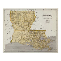 Louisiana Atlas Map Poster