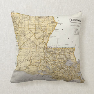 Louisiana Atlas Map Throw Pillow