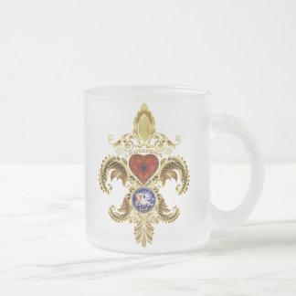Louisiana Bicentennial Flor de lis View Hints Frosted Glass Coffee Mug