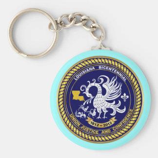 Louisiana Bicentennial Mardi Gras Logo View Hint Basic Round Button Keychain