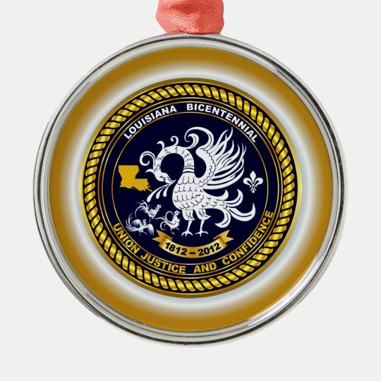 Louisiana Bicentennial Mardi Gras Logo View Hint Metal Ornament