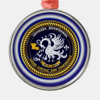 Louisiana Bicentennial Mardi Gras Logo View Hint Round Metal Christmas Ornament