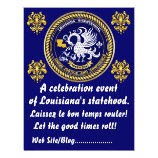Louisiana Bicentennial  Mardi Gras Party See Notes Personalized Flyer