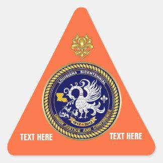 Louisiana Bicentennial Mardi Gras View Hints Triangle Sticker