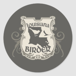Round Sticker with Louisiana Birder design