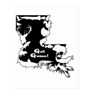 Louisiana BLACK AND WHITE GOT GAME ONLY.png Postcard