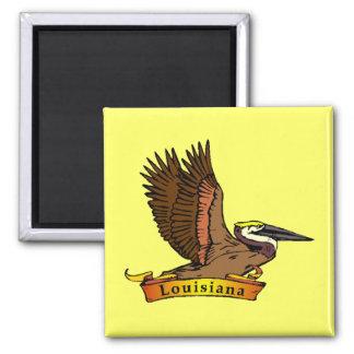 Louisiana Brown Pelican 2 Inch Square Magnet