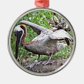 Louisiana Brown Pelican Metal Ornament