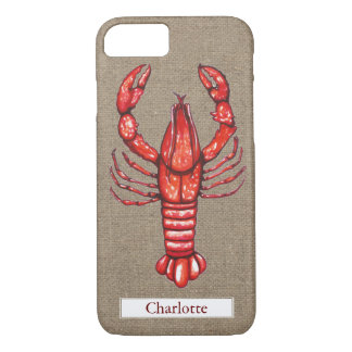 Louisiana Cajun Crawfish Burlap Custom Name iPhone 7 Case