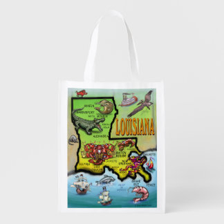 Louisiana Cartoon Map Grocery Bag
