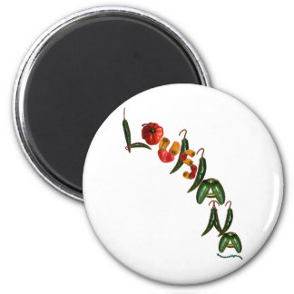 Louisiana Chili Peppers 2 Inch Round Magnet