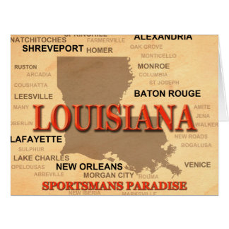 Louisiana City and Towns State Pride Map Card