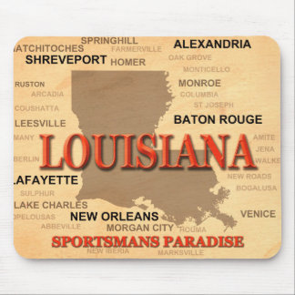 Louisiana City and Towns State Pride Map Mouse Pad
