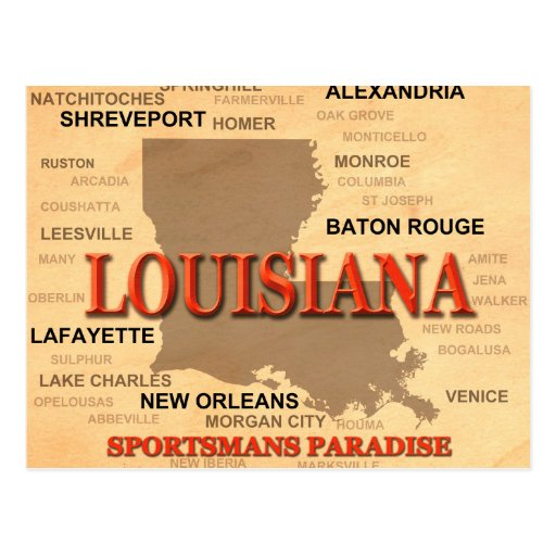 Louisiana City and Towns State Pride Map Postcards