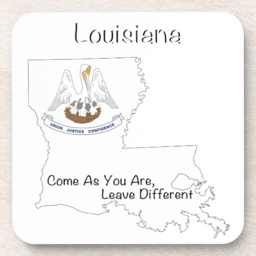 Louisiana Flag and Map Drink Coasters