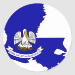 Louisiana Flag Map Round Sticker