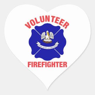 Louisiana Flag Volunteer Firefighter Cross Heart Sticker
