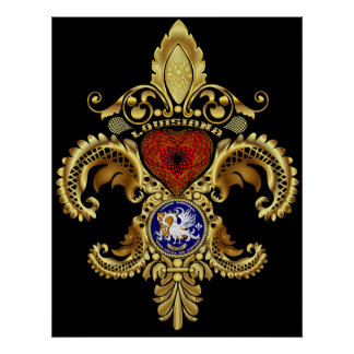 Louisiana Fleur De Lis Bicentennial Poster
