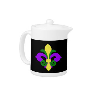Louisiana Fleur de lis (Mardi Gras).jpg Teapot