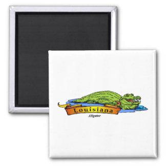 Louisiana Gator 2 Inch Square Magnet