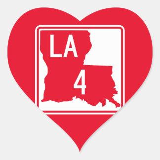 Louisiana Highway 4 Heart Sticker