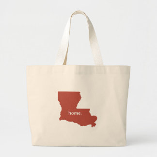 Louisiana home silhouette state map large tote bag