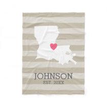 Louisiana Home State Map - Custom Wedding City Fleece Blanket