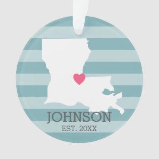 Louisiana Home State Map - Custom Wedding City Ornament