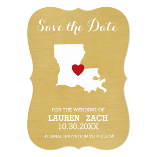 Louisiana Home State Map - Wedding Save the Date 5x7 Paper Invitation Card